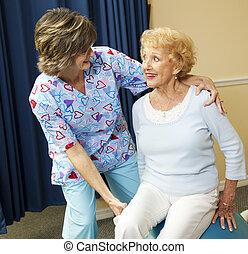 idősebb ember, hölgy, és, fizikai therapist