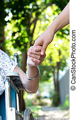 idősebb ember, hölgy, hatalom kezezés