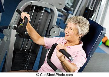 idősebb ember, hölgy, munka munka