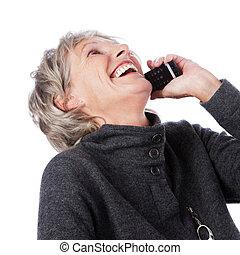 idősebb ember, hölgy, telefon, nevető