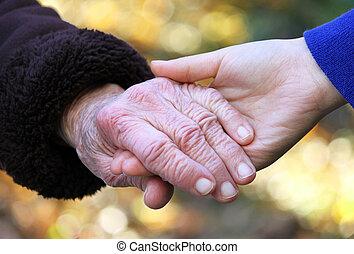 idősebb ember, hads, fiatal, birtok, nők