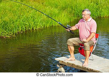 idősebb ember, halászat, ember