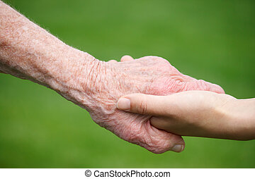 idősebb ember, hatalom kezezés