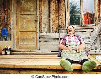 idősebb ember, idős, laptop, nő