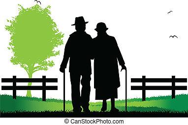 idősebb ember, jár