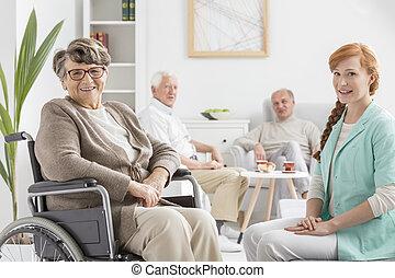 idősebb ember, képben látható, egy, tolószék