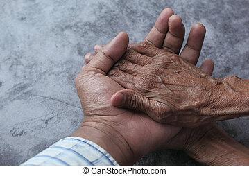 idősebb ember, kézbesít, ember, birtok, fiatal, lady.