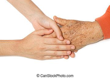 idősebb ember, kézbesít, fiatal, együtt, birtok