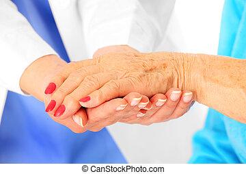idősebb ember, kézbesít