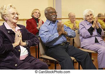 idősebb ember, kifeszítő, felnőttek, osztály