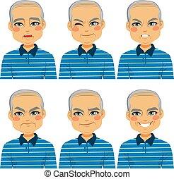 idősebb ember, kopasz bábu, arc, kifejezések