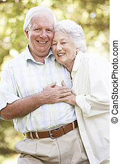 idősebb ember, liget, összekapcsol jár