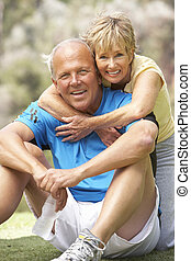 idősebb ember, liget, párosít, gyakorlás