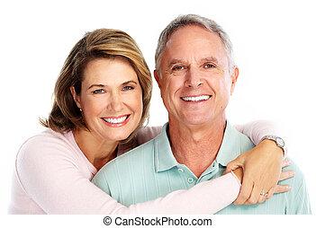 idősebb ember, love., párosít, boldog
