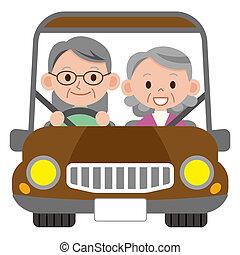 idősebb ember, mosolygós, házaspár, boldog