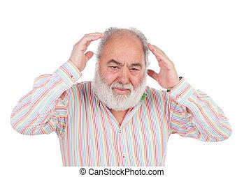 idősebb ember, nyugtalan, kiáltás, ember