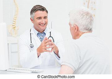 idősebb ember, orvos, türelmes, ortopéd, fejteget