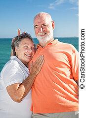 idősebb ember, -, párosít, nyúl fül