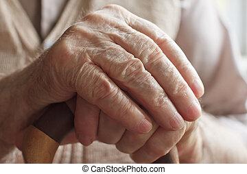 idősebb ember, sétabot, ember, kéz