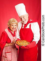 idősebb ember, süt, párosít, együtt