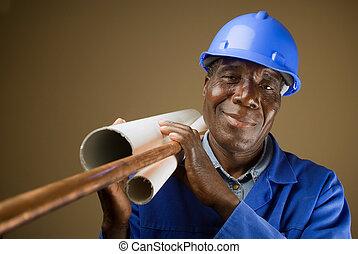 idősebb ember, south african, vagy, amerikai, vízvezeték szerelő, noha, csövek