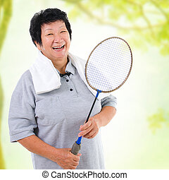idősebb ember, sport, ázsiai