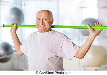 idősebb ember, sport, bot, birtok, ember