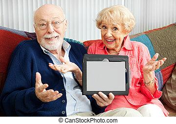 idősebb ember, számítógép, párosít, megzavarodott, tabletta