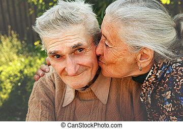 idősebb ember, szeret, párosít, boldog