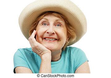 idősebb ember, szuper, boldog