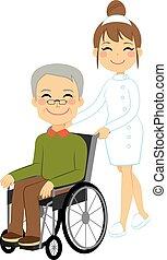 idősebb ember, türelmes, tolószék