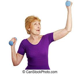 idősebb ember, -, tréning, erő
