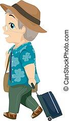 idősebb ember, utazás, ember