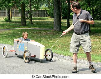 idősebb ember, vontatás, gokart
