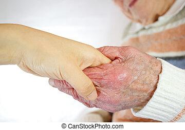 idősebb ember, women's, fiatal, kézbesít