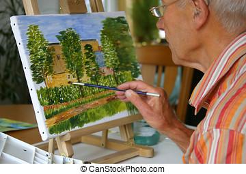 idősebb, festmény, ember
