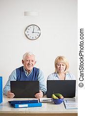 idősebb, párosít, munka