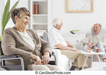 idősek, költés, idő, együtt
