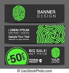 ID app icon. Fingerprint banner vector illustration