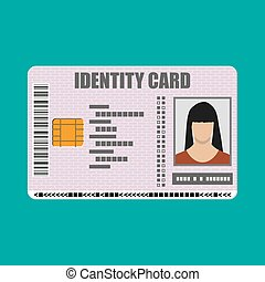 ID card icon. Identity card, national id card