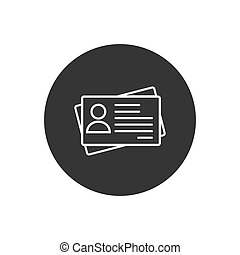 Id card icon in flat style. Identity tag vector illustration white on gray isolated background. Driver licence business