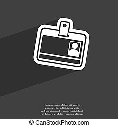 Id card icon symbol Flat modern web design with long shadow and space for your text.