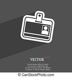 Id card icon symbol Flat modern web design with long shadow and space for your text. Vector