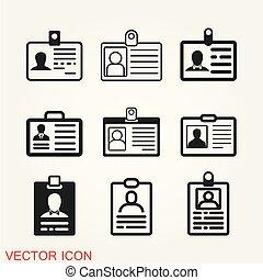 Id card icon vector, security badge symbol