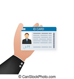 ID Card on white background. Flat design style. Vector illustration.
