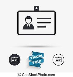 ID card sign icon. Identity card badge symbol. Flat icons. ...
