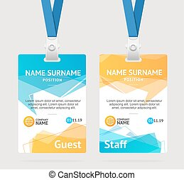 id card or visitor badge vector plastic access or pass badges
