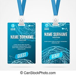 Id Card Template Plastic Badge. Vector