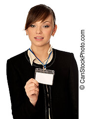 id card - woman showing her badge at the entrance of meeting...