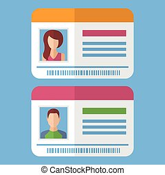 Id cards template with man and woman photo. Vector...